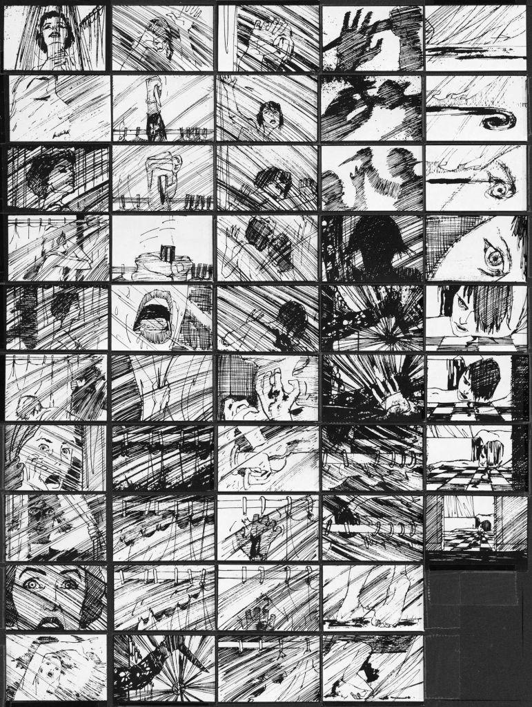 Storyboard de la secuencia de la ducha en 'Psicosis'